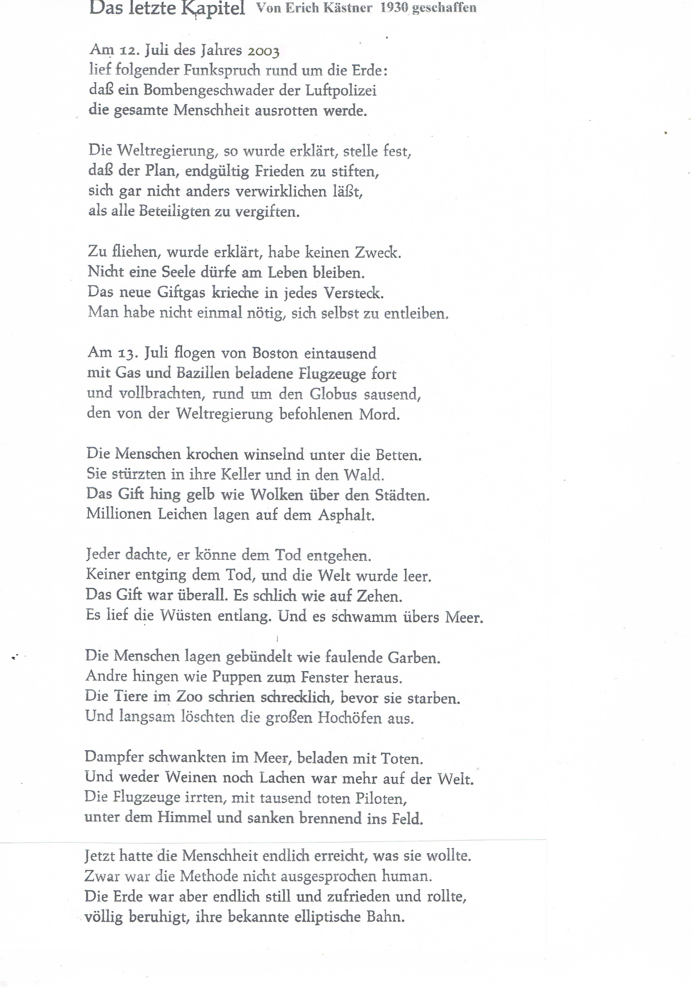 Erich Kästner Gedicht über Chemische Kriegsführung